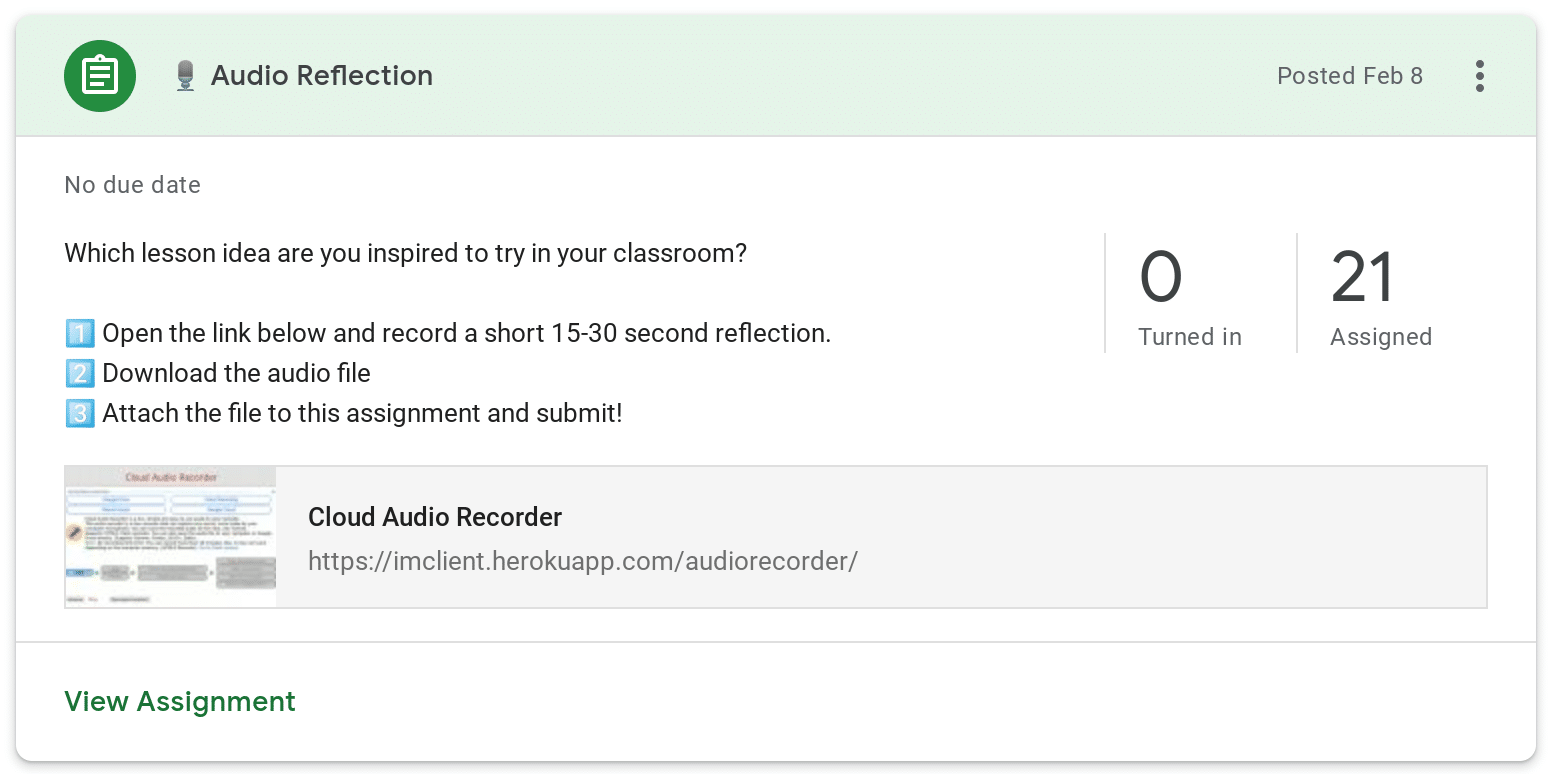 Audio Reflection in Google Classroom