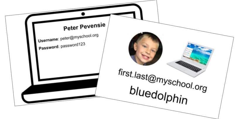 Elementary Chromebook Login Card