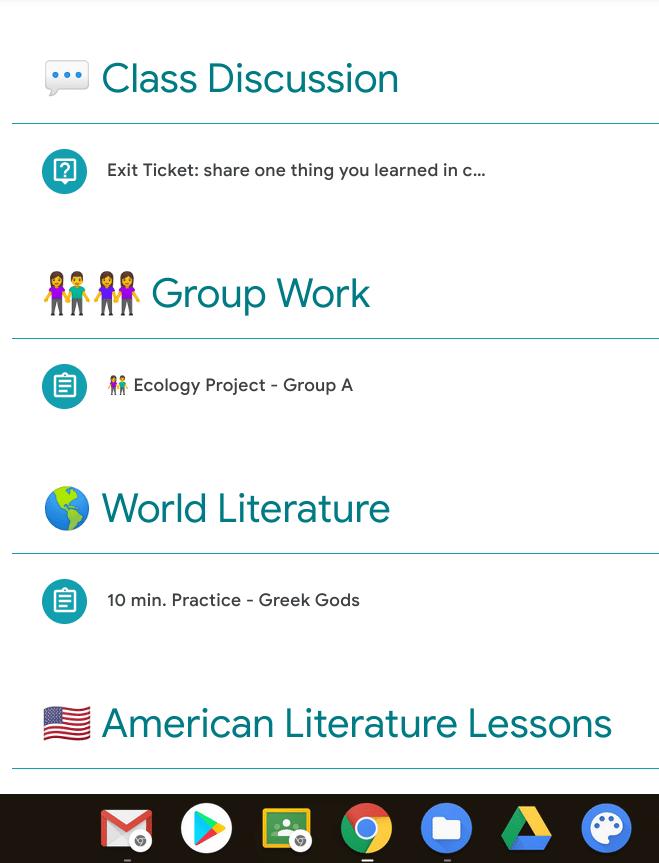 Emoji in Google Classroom Topics