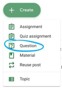 discussion question in Google Classroom