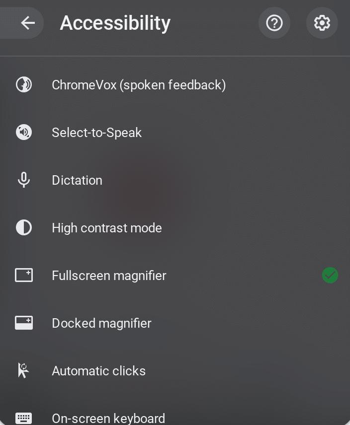 Google Accessibility Settings