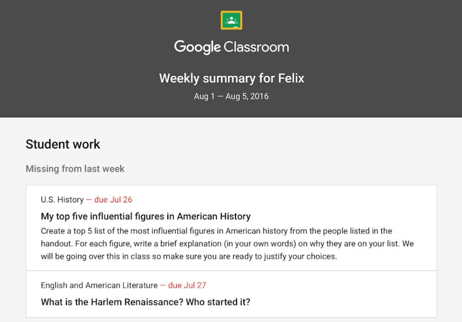 Google Classroom Guardian Summary