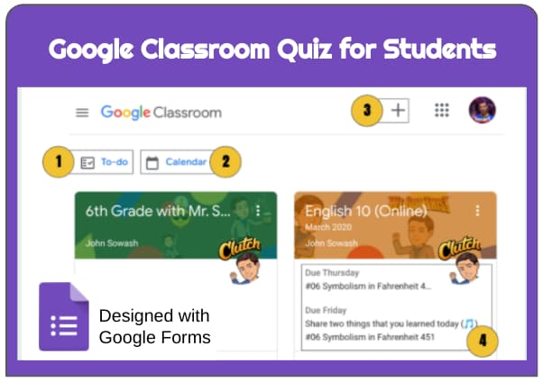 Google Classroom quiz for students