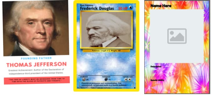 History trading cards