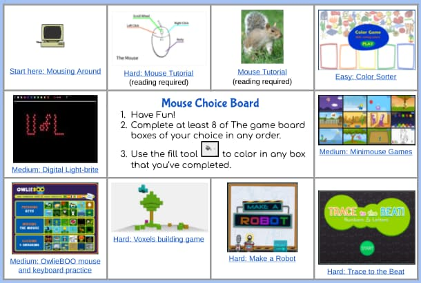 Mouse activities for elementary students