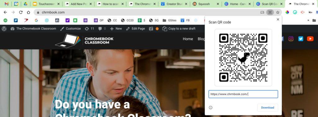 screenshot of website generating QR code