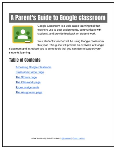 Google Classroom for parents (PDF guide)