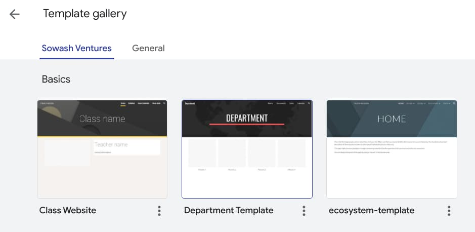 Google Sites private template gallery