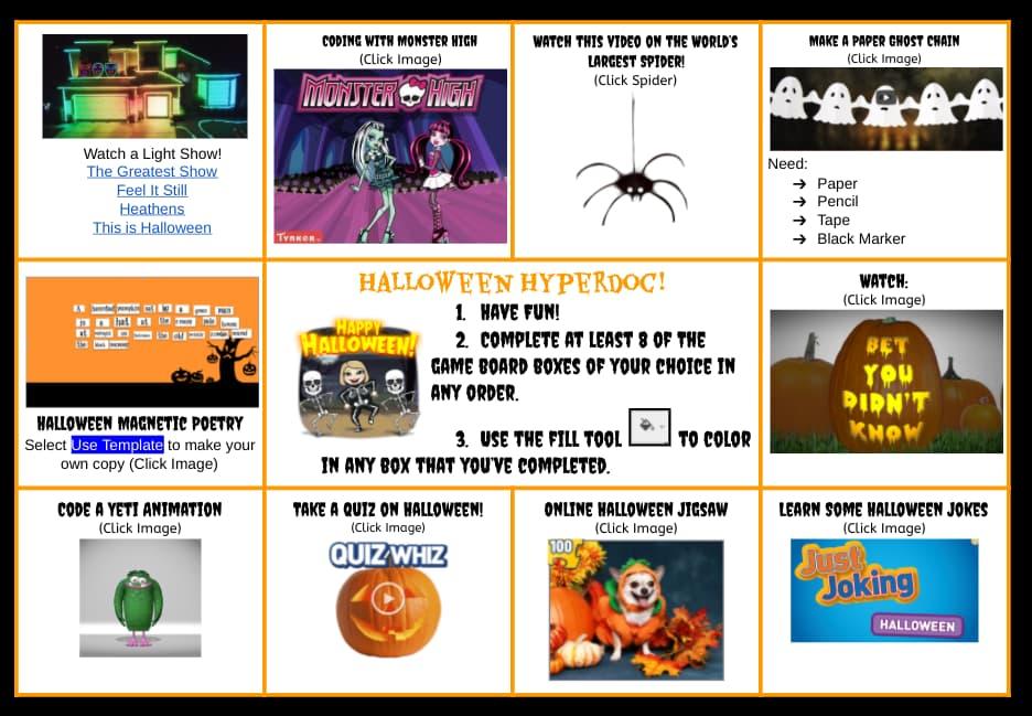 Halloween Choiceboard by Tonya Nugent