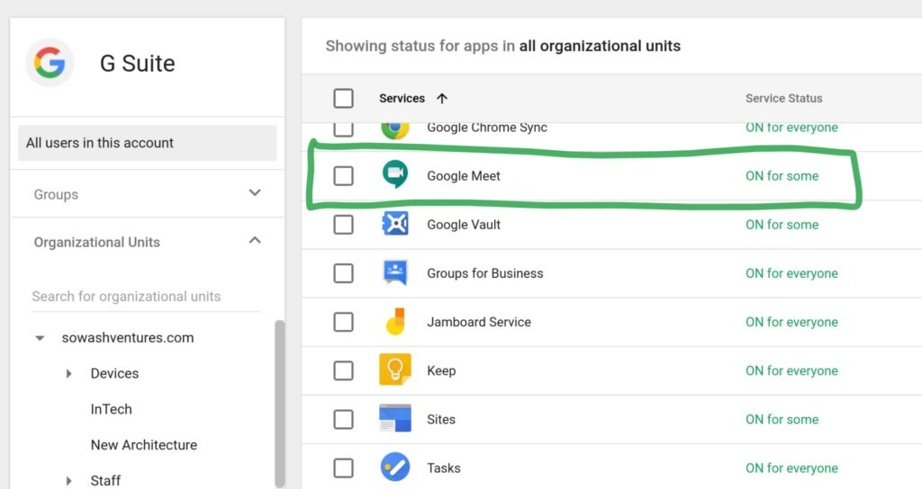 Google Meet Service Setting for students