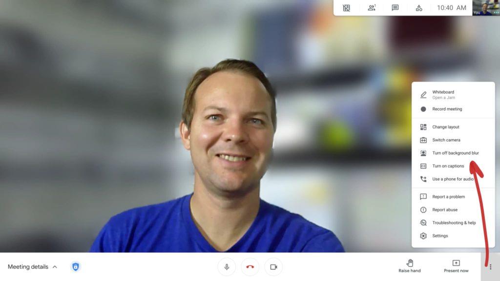 Google Meet - background blur