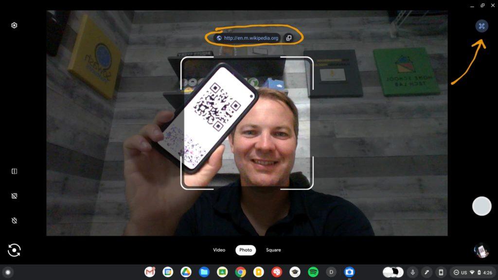 ChromeOS Camera app with QR code