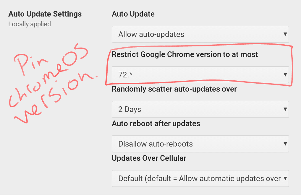 Pin Chrome OS Update